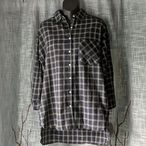 Essue Navy White Plaid Top Tunic with Pockets